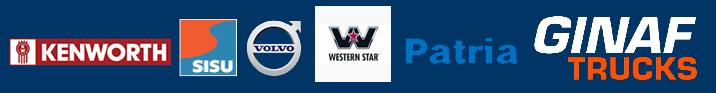 Kenworth, Sisu, Volvo, Western Star, Patria, Ginaf trucks